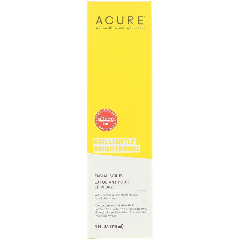 Acure, Brilliantly Brightening, Facial Scrub, 4 Floz